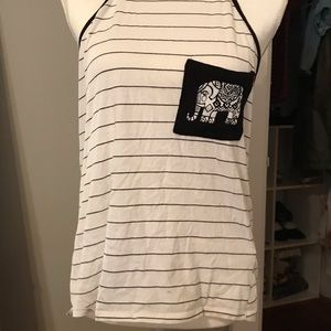 Charlotte Russe black and white striped shirt